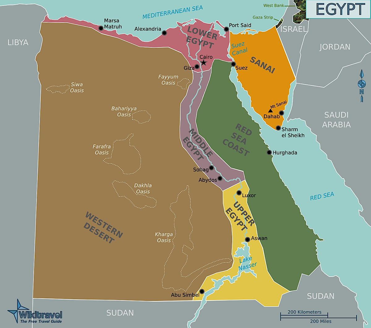 Egypt Regions Map Egypt Mappery