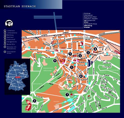 Eisenach Tourist Map Eisenach Germany Mappery - Germany map tourist