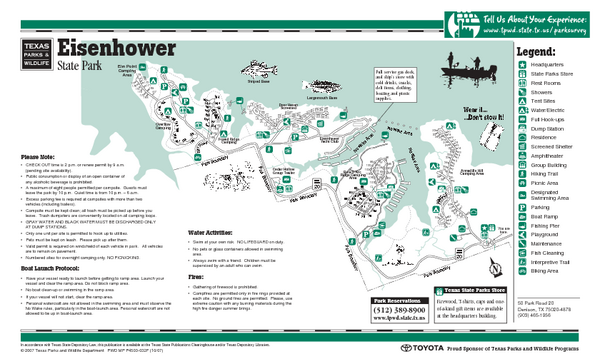 Eisenhower, Texas State Park Map