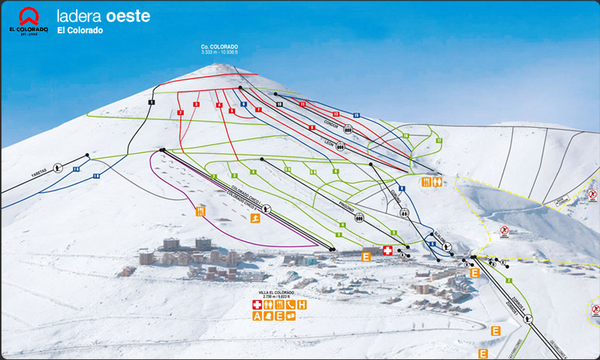 El Colorado-Farellones West Face Ski Trail Map
