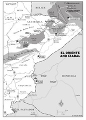 El Oriente and Izabal region Map