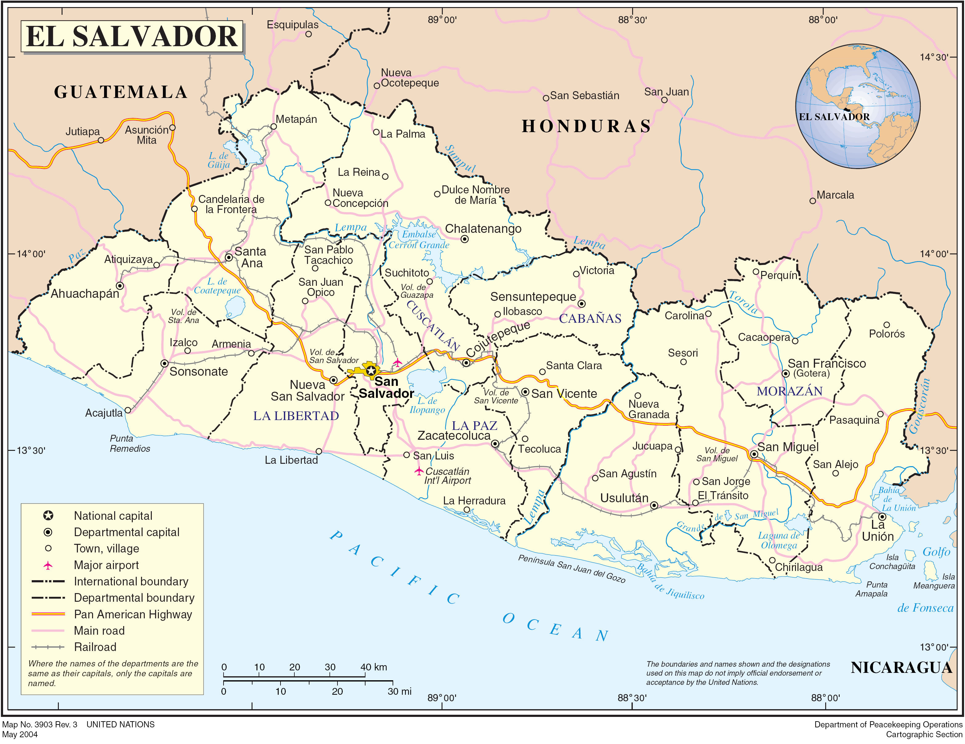 El Salvador Country Map  El Salvador  mappery