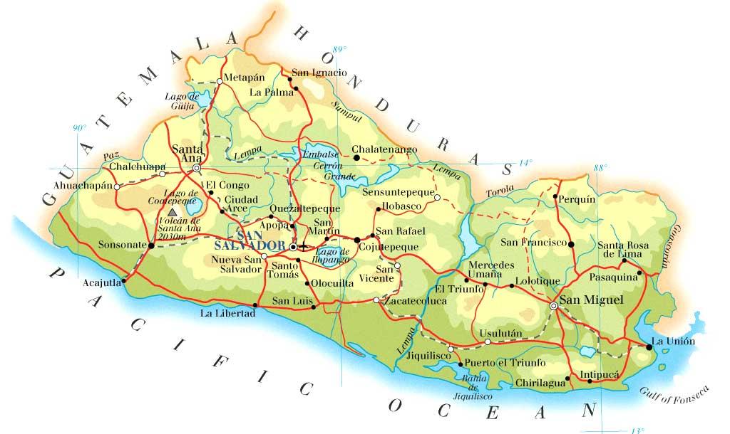 El Salvador Map Mappery - Map of el salvador