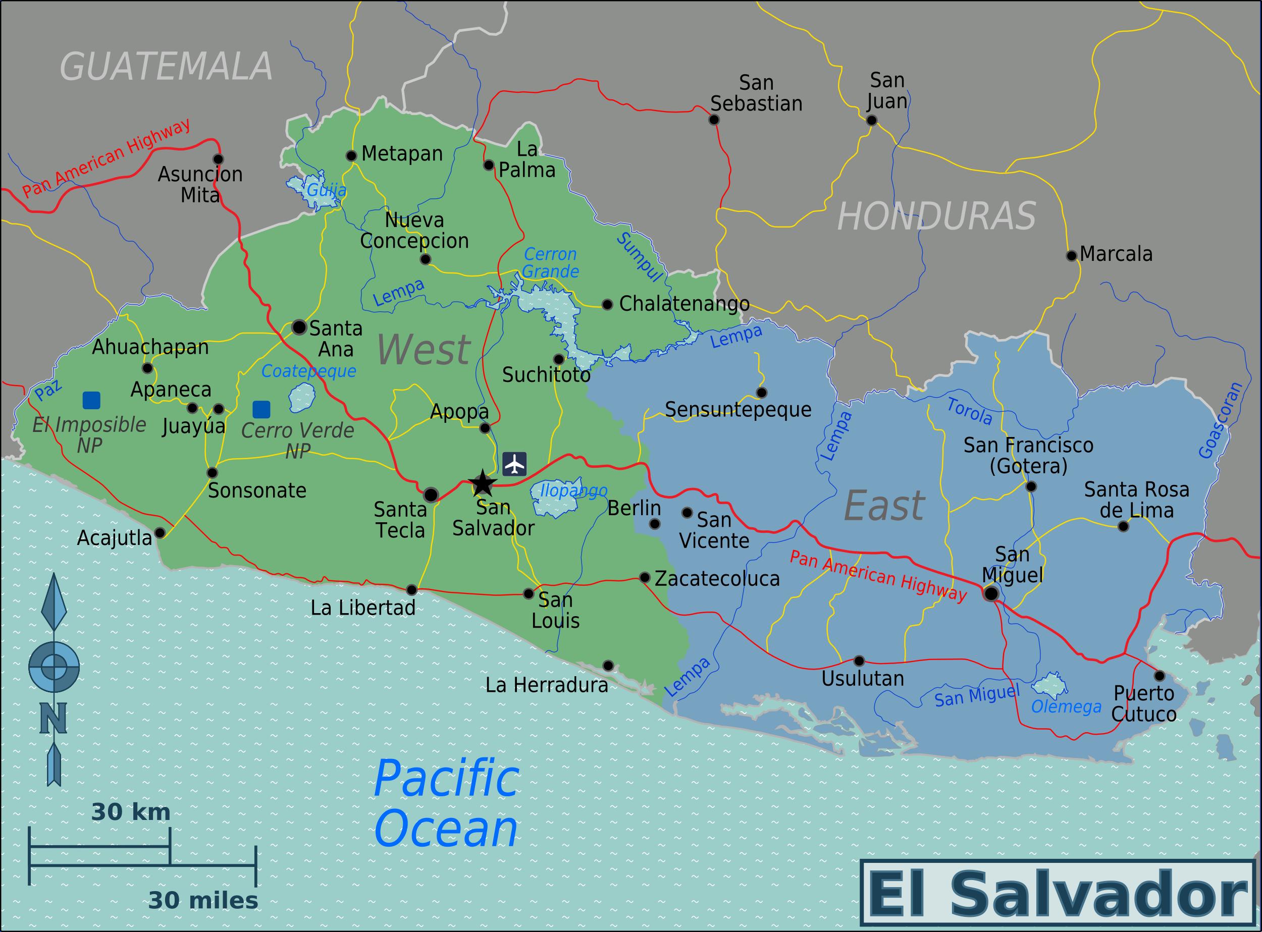 Region S Karte.El Salvador Regions Map Mappery
