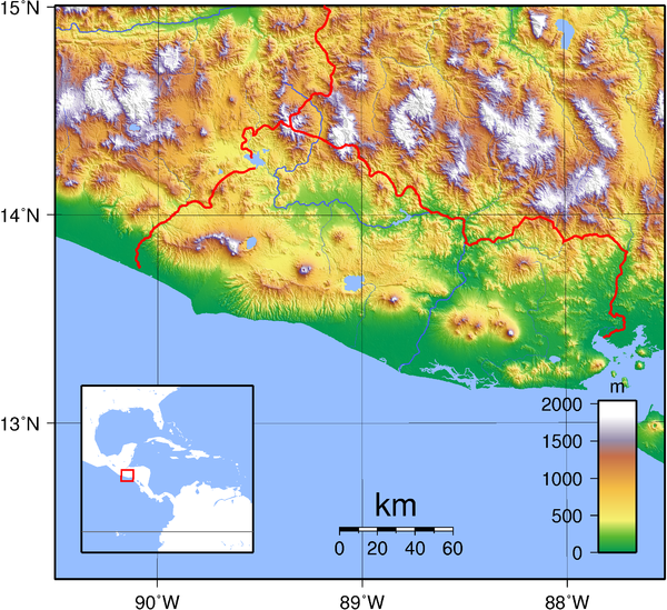 El Salvador topography Map