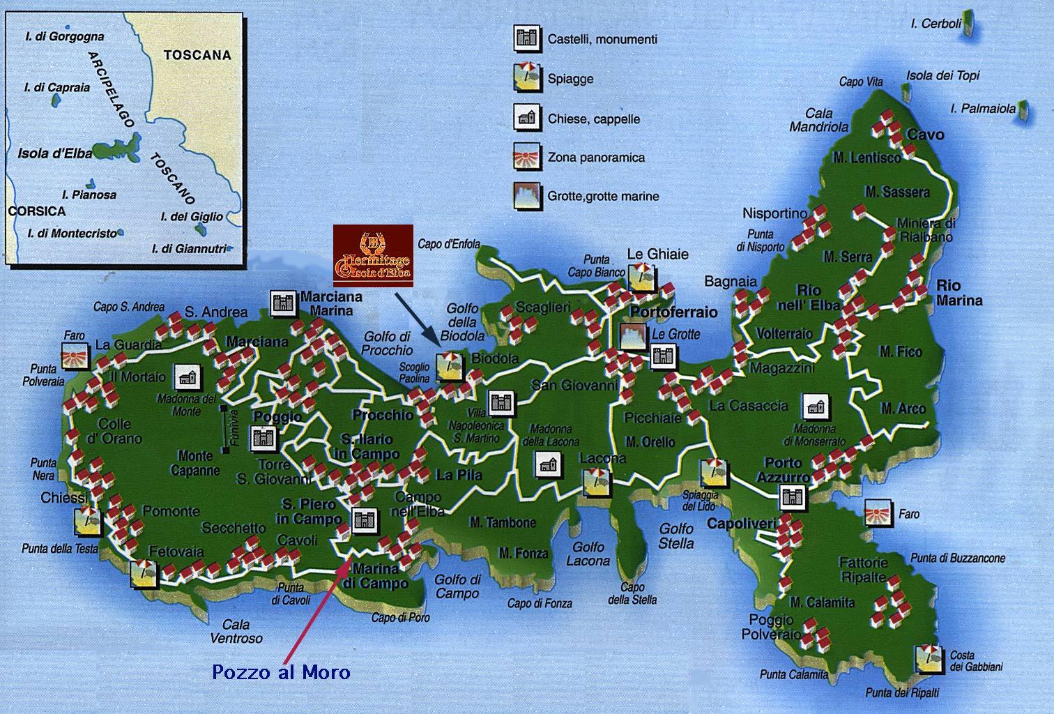 Elba Tourist Map Elba Italy mappery