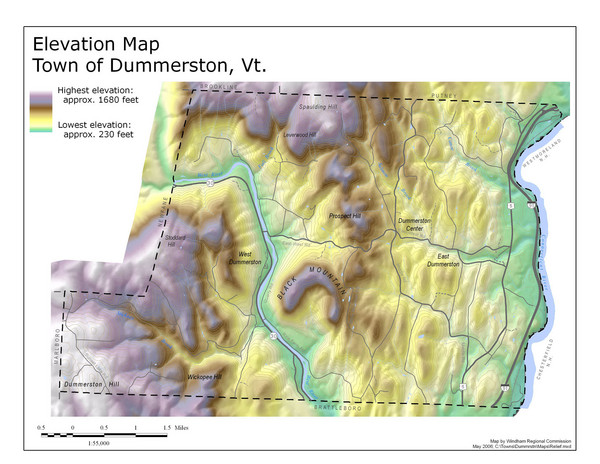 Elevation Map of Dummerston, Vermont