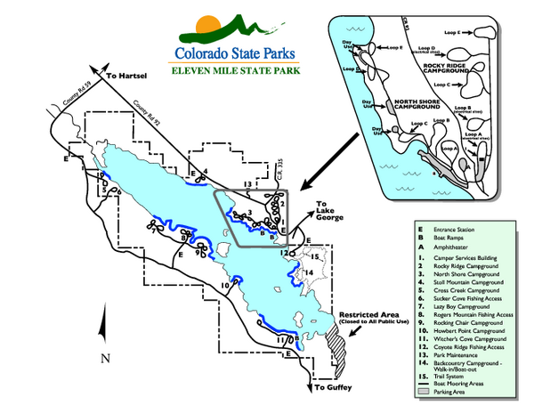 Eleven mile state park map 4229 county road 92 lake for 11 mile fishing report