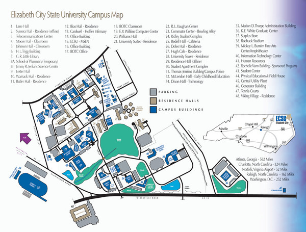 Norfolk State Campus Map.Elizabeth City State University Campus Map Raleigh North Carolina