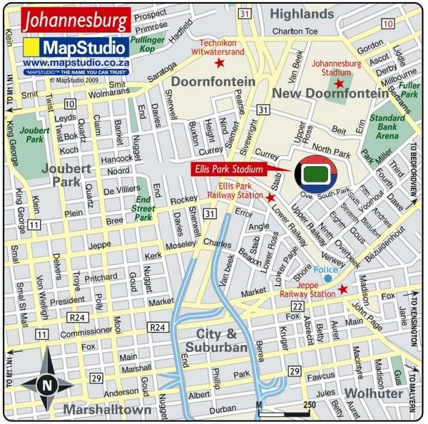Ellis Park Stadium Johannesburg South Africa Map new doornfontein