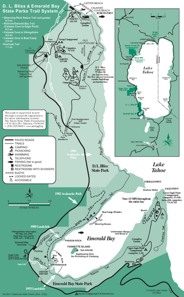 Emerald Bay State Park and DL Bliss State Park Trail Map