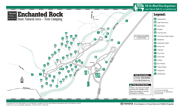 Enchanted Rock, Texas State Park Camping Map