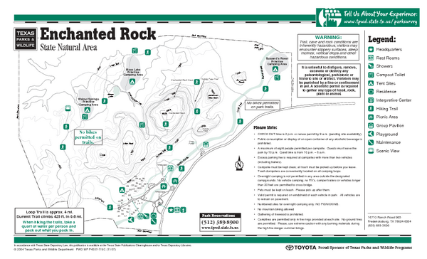 Enchanted Rock, Texas State Park Facility and Trail Map