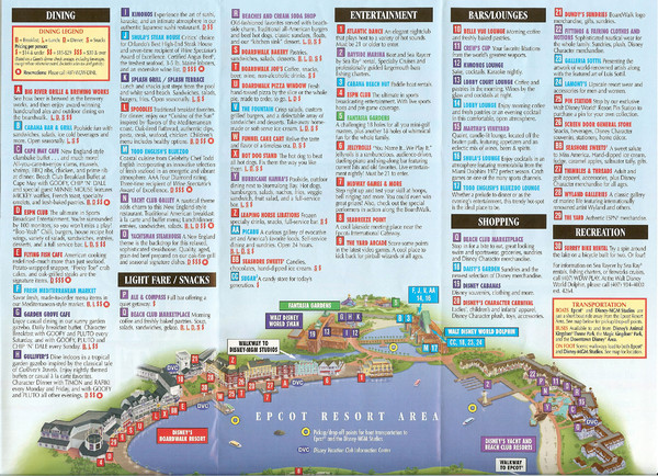 Epcot Resort Tourist Map