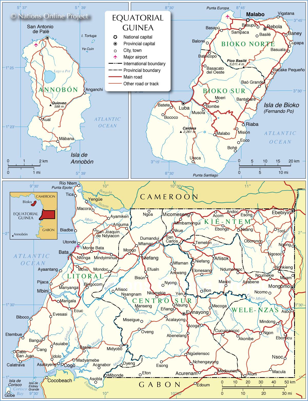 Equatorial Guinea Admin Map • mappery