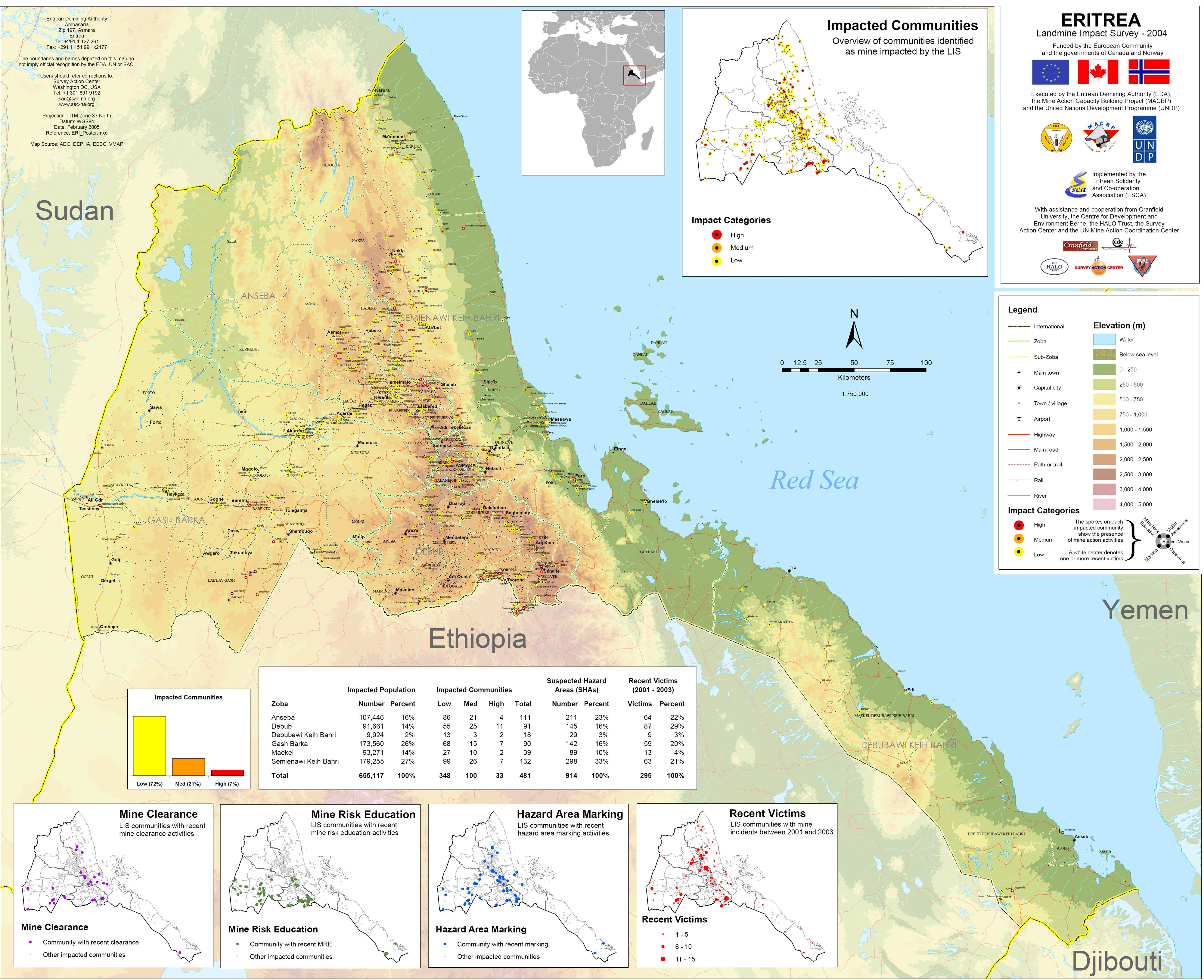 Eritrea Physical Map Mappery - Eritrea map