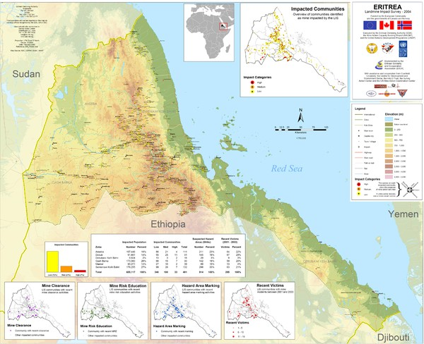 Eritrea Physical Map mappery