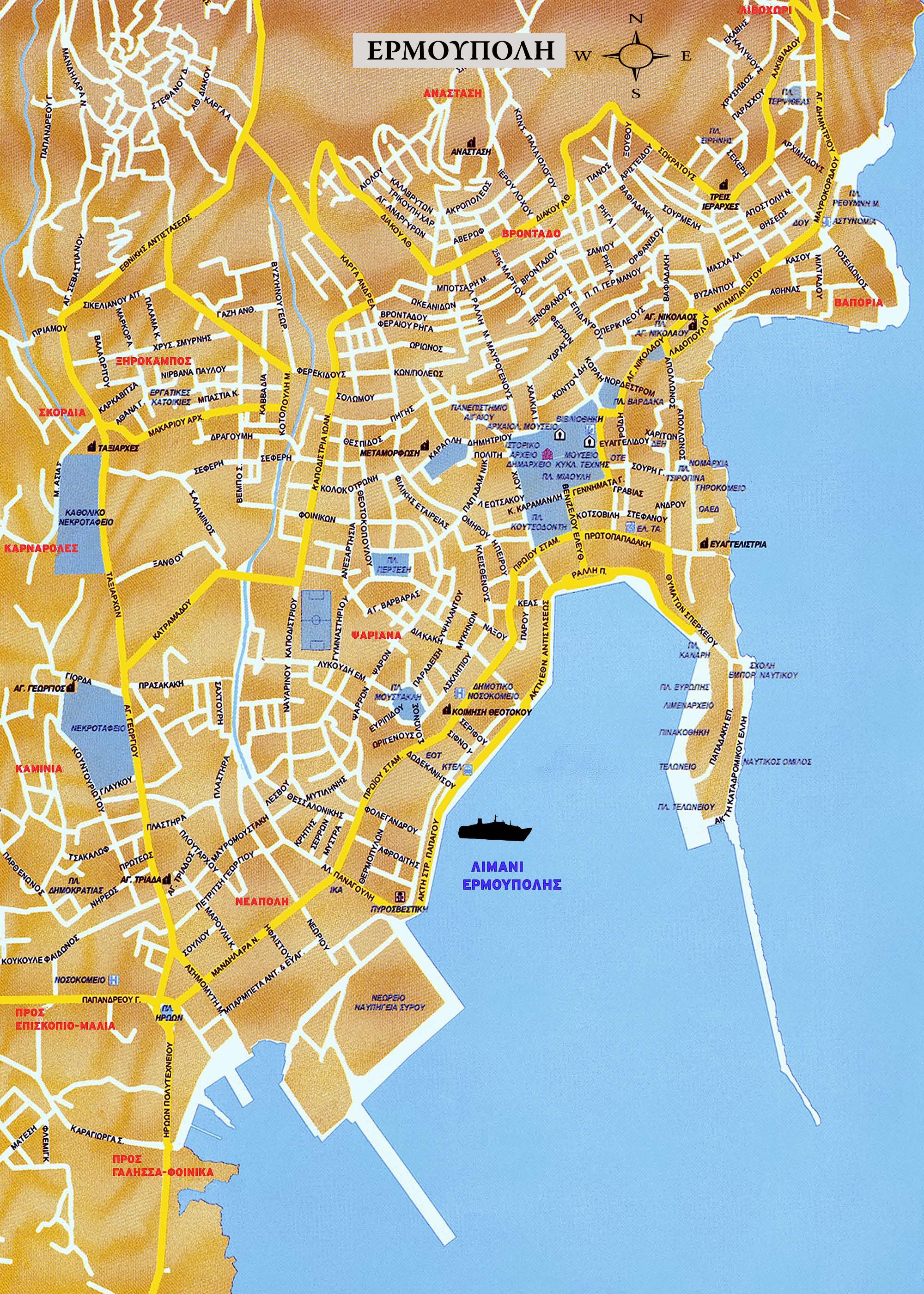 Ermoupolis Map Ermoupolis Greece mappery