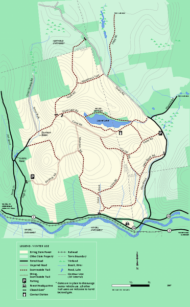 Erving State Park winter use map