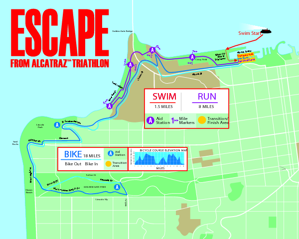 Escape From Alcatraz Triathlon Course Map 2009