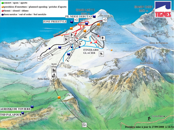 Espace Killy Val DIsere Tignes Tignes Summer Skiing Ski Trail Map