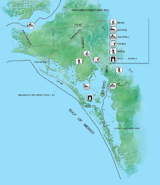 Estero Bay Preserve State Park Map 3800 Corkscrew Road Estero