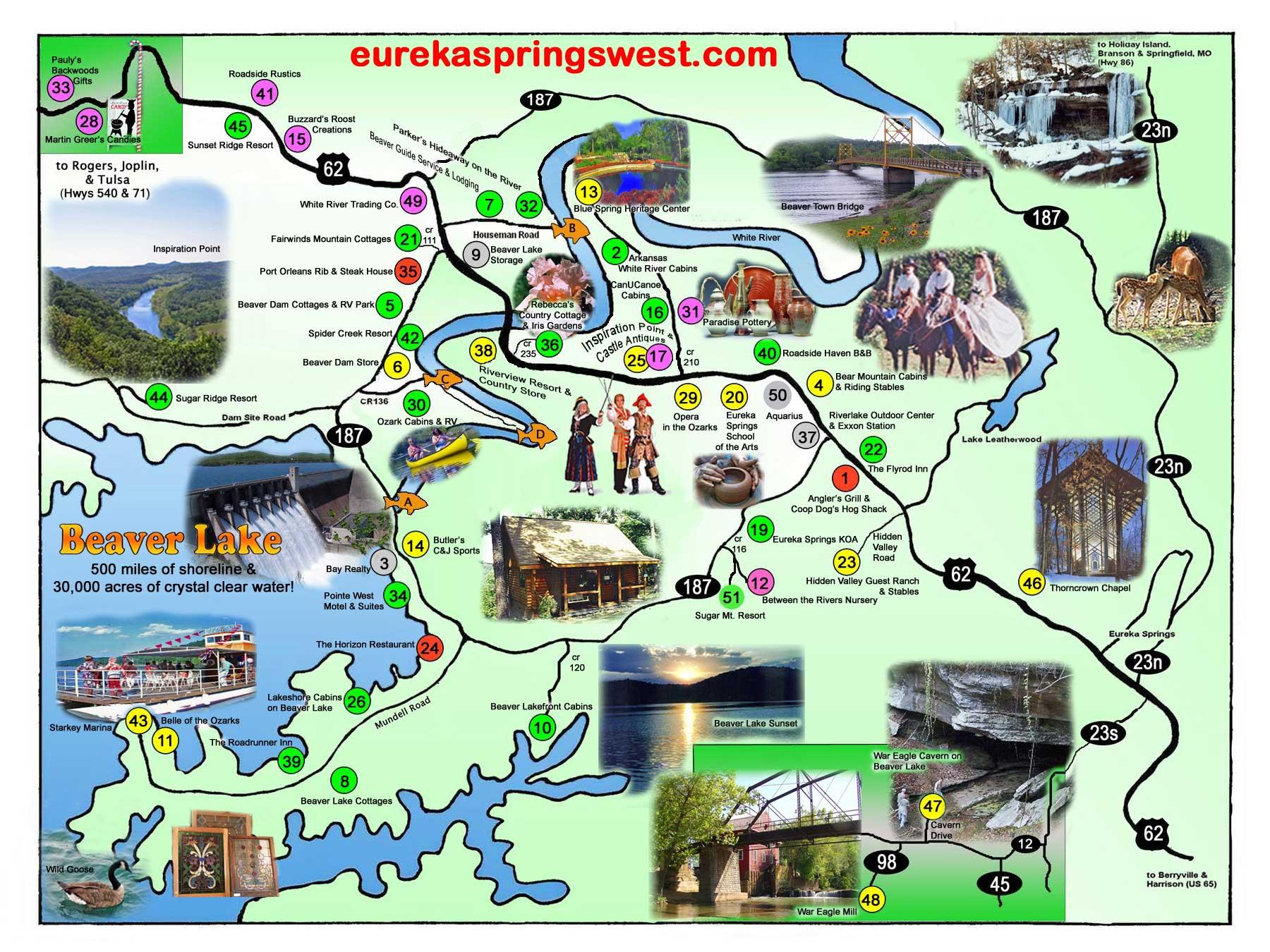 Eureka Springs West Tourist Map   Eureka Springs Arkansas • mappery