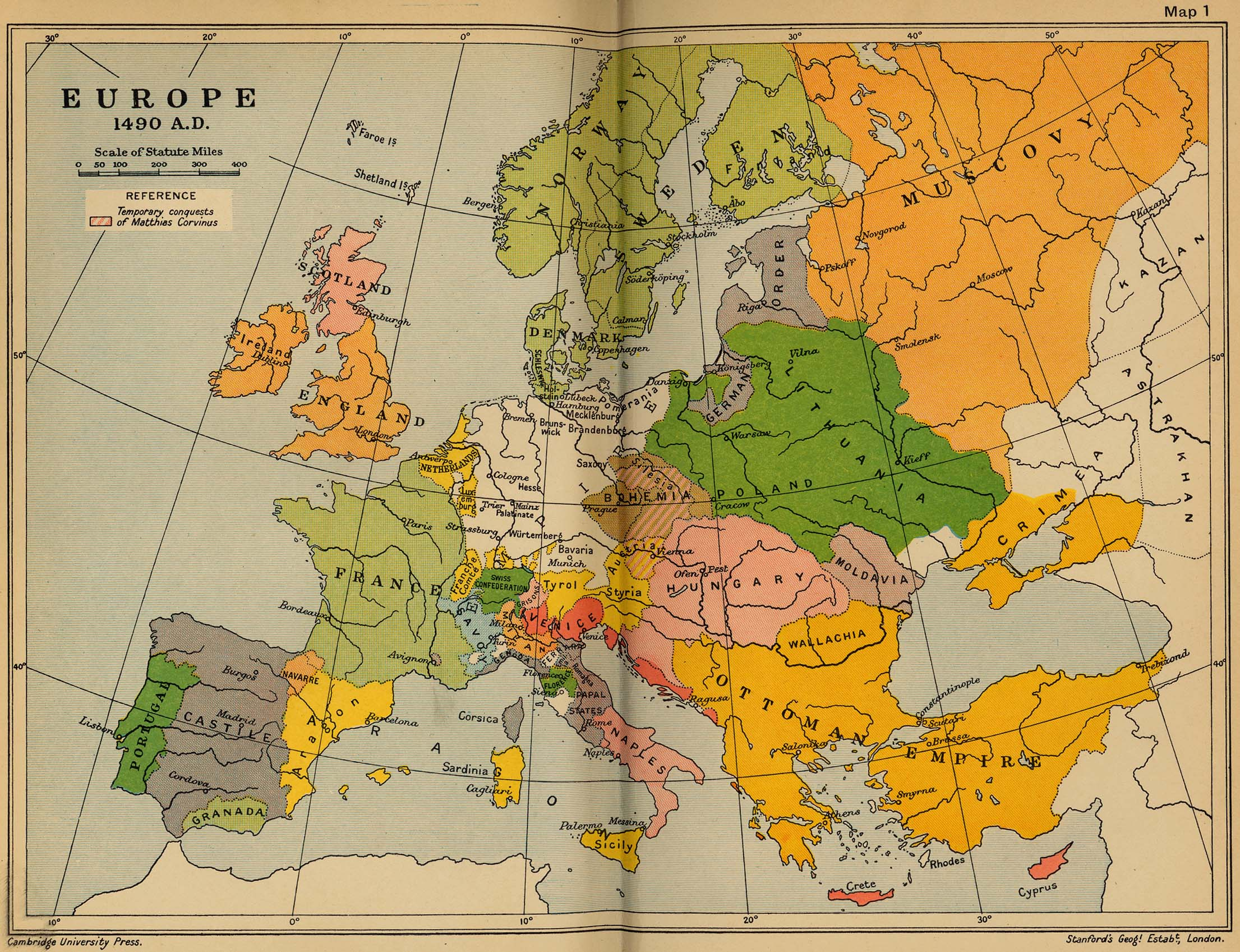 Europe 1490 Historical Map Europe mappery