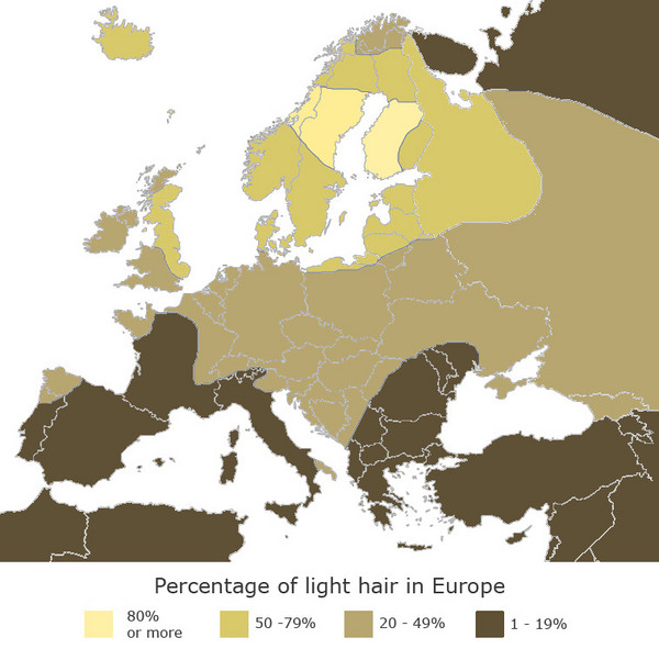Europe Blond Hair Map