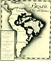 Europe inside of Brazil Map