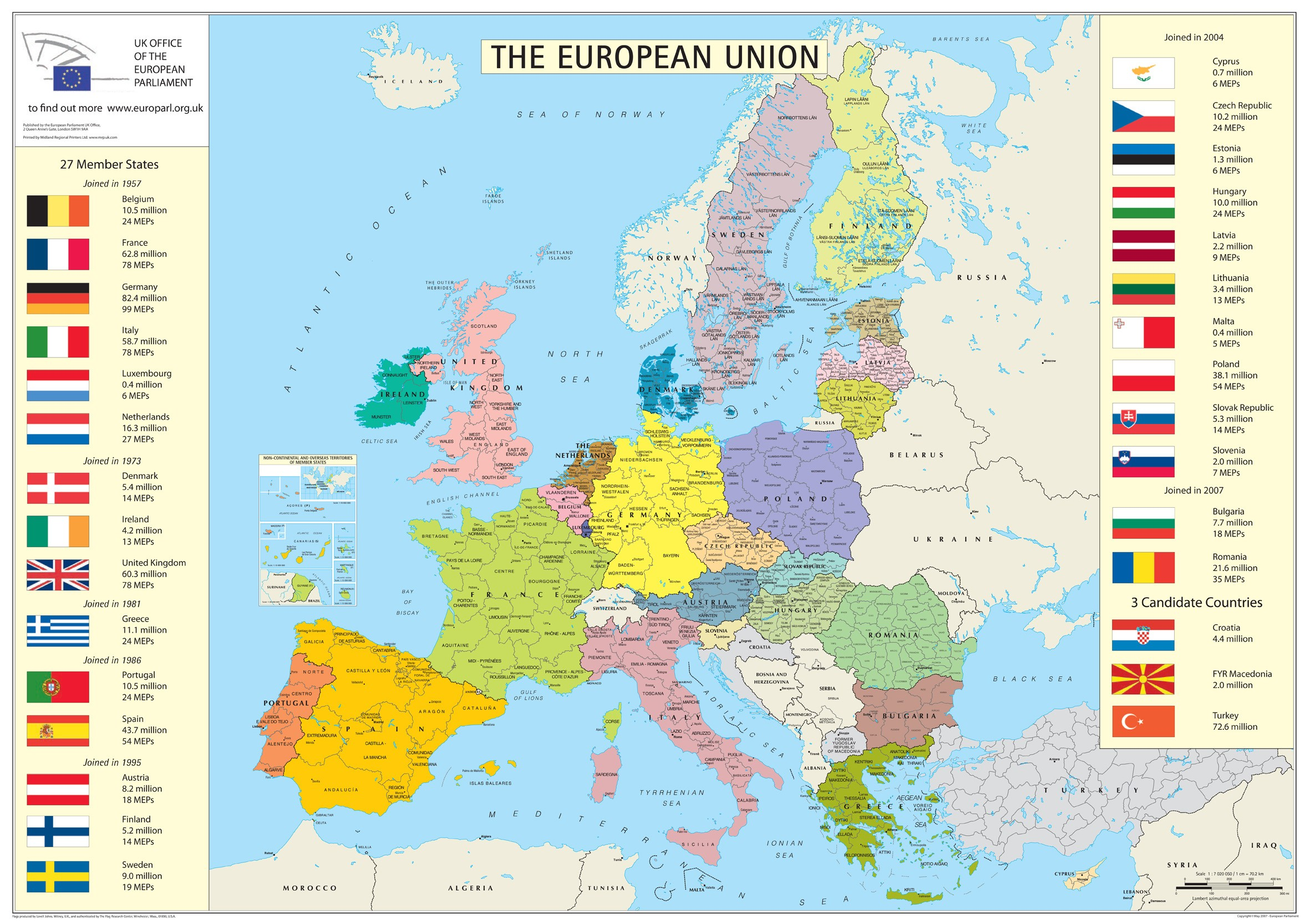 . european union member states map  europe • mappery
