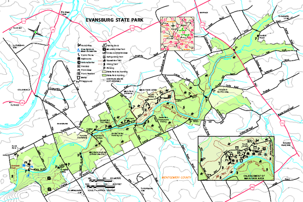 Evansburg State Park map
