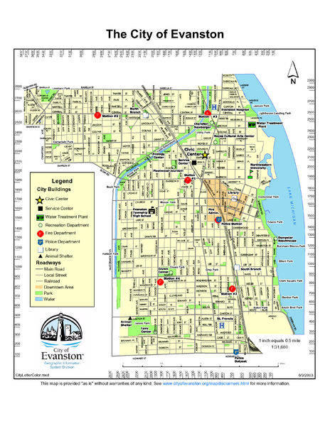Evanston City Map   Evanston Illinois • mappery