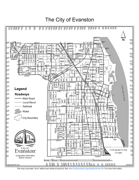 Evanston City Map   Evanston IL • mappery