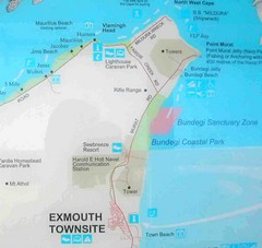 Exmouth, Australia Beach Map