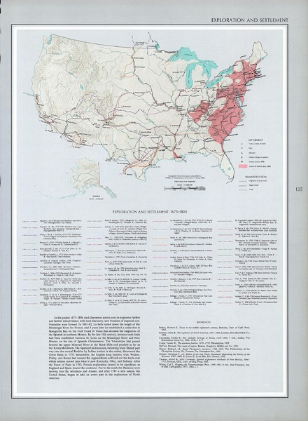 Exploration and Settlement in 1675 Historical United States Map