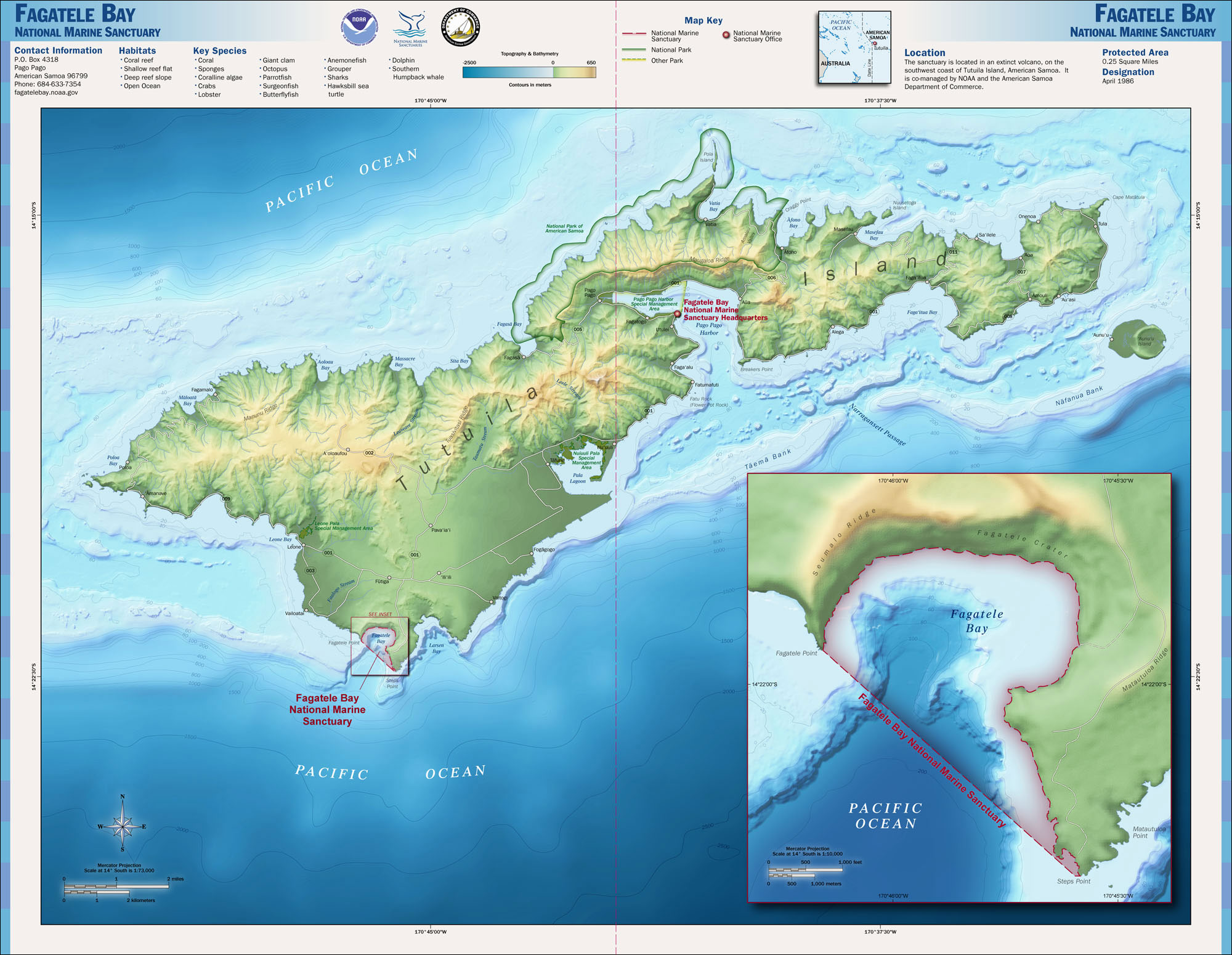 fagatele bay national marine sanctuary map american samoa mappery
