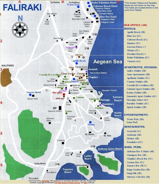 Faliraki Tourist Map