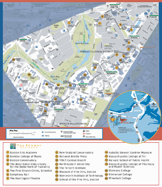Fenway Cultural District Map  Boston MA  Mappery
