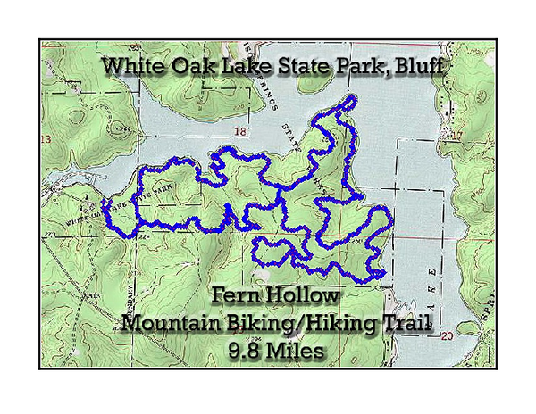 Fern Hollow Trail - White Oak Lake State Park Topographical Map