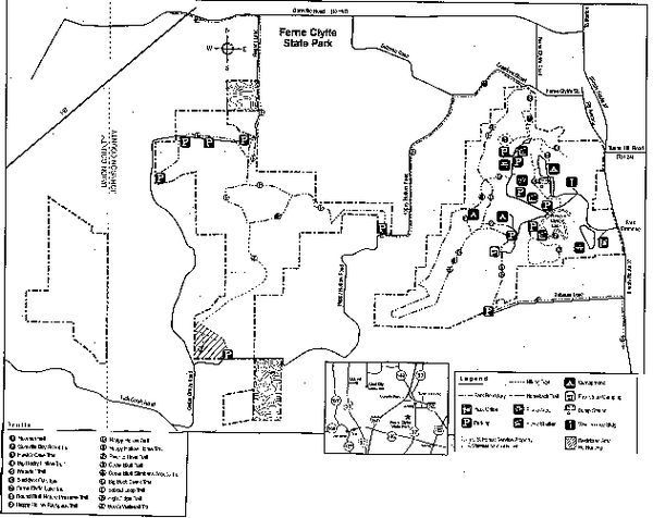 Ferne Clyffe State Park, Illinois Site Map