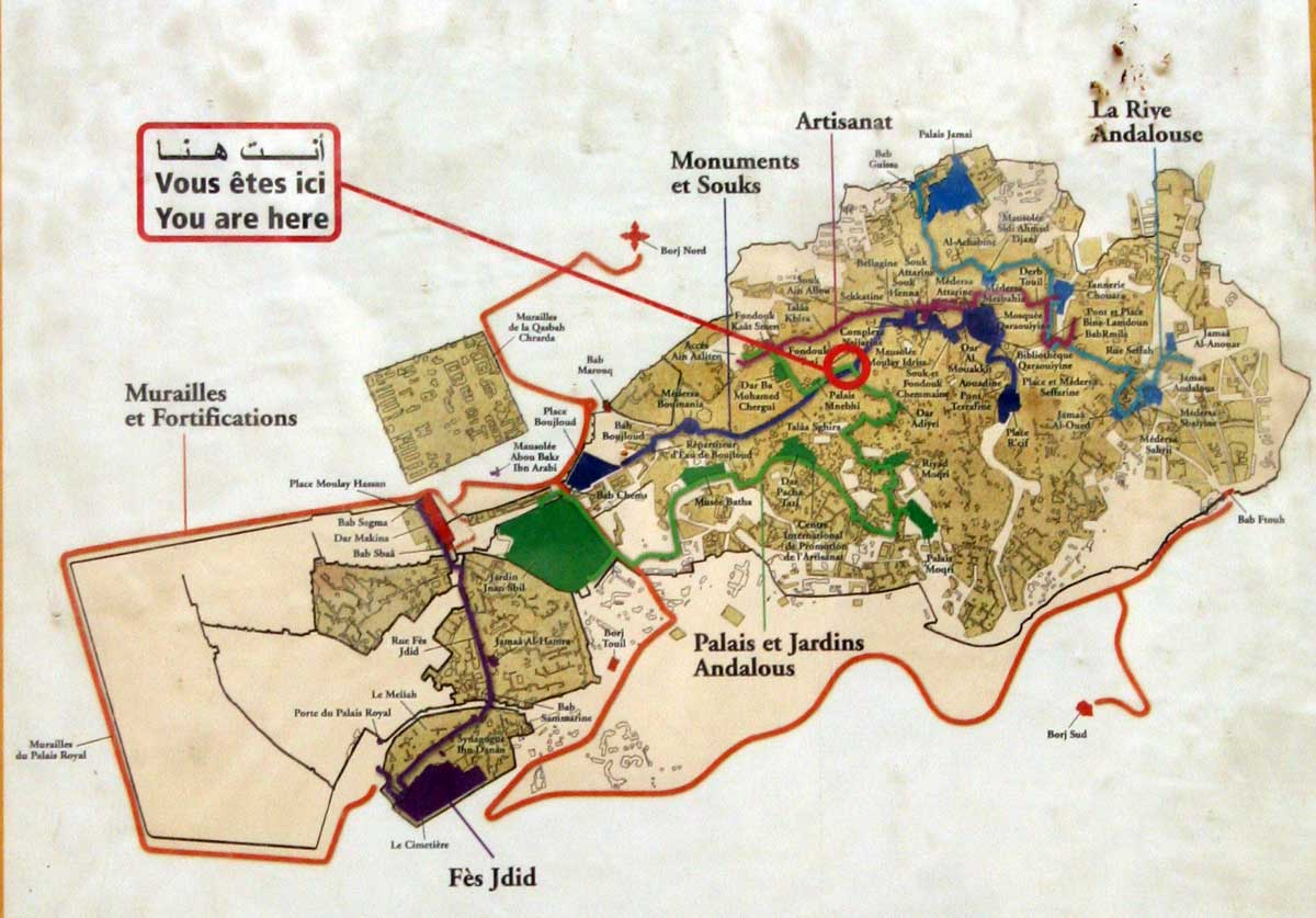 fez medina walking route map - fez morocco • mappery