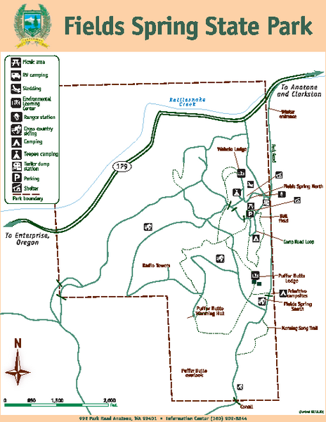 Fields Spring State Park Map