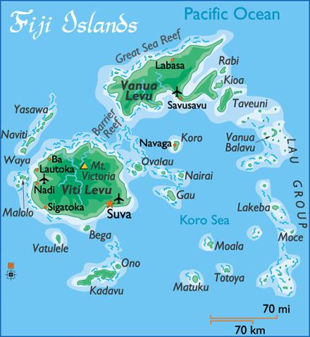 Fiji Islands Map Fiji Islands Mappery - Fiji map