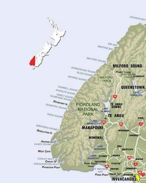 Fiordland Map Fiordland New Zealand Mappery