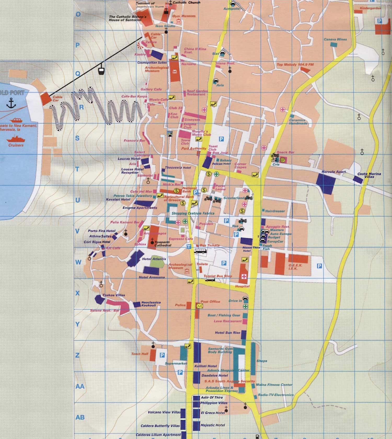 fira tourist map  fira santorini greece • mappery -