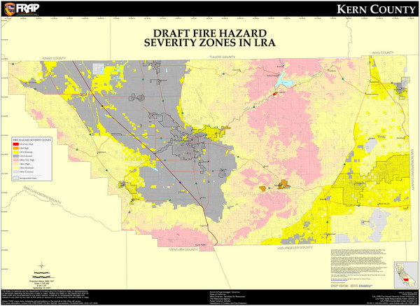 Fire Hazard Severity Zones, Kern County California Map