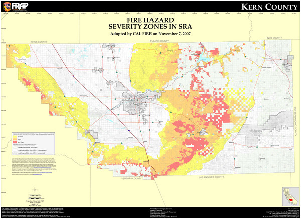 Fire Hazard Severity Zones Kern County California Map - Cal map