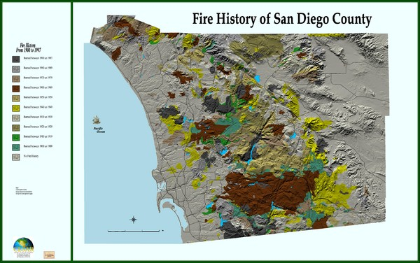 Fire History Of San Diego County Map San Diego Ca Mappery