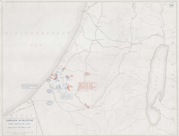 First Battle of Gaza Map 1917
